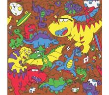 Nouveaux dinosaures sur fond brun